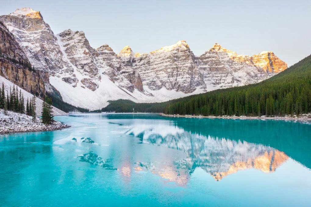 Lake Moraine on a cold morning in Banff National Park