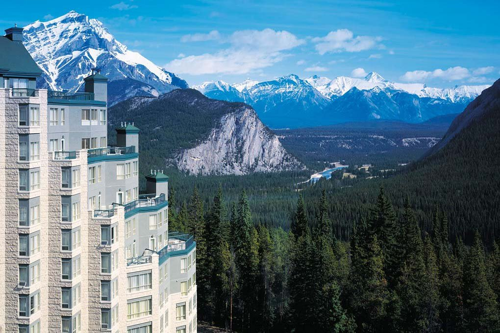 The views of the Rimrock Resort in Banff, Canada