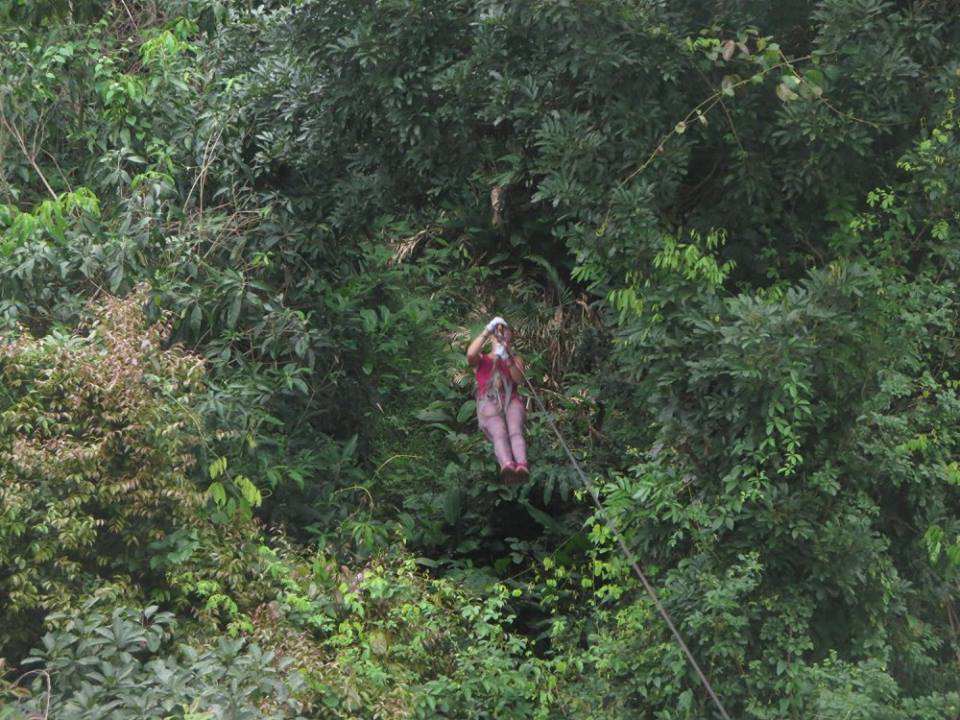 zip lining through the jungle in Mexico