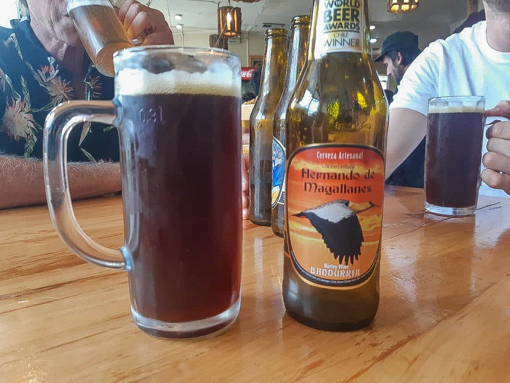 Drinking craft beer in Puerto Natales, Chile