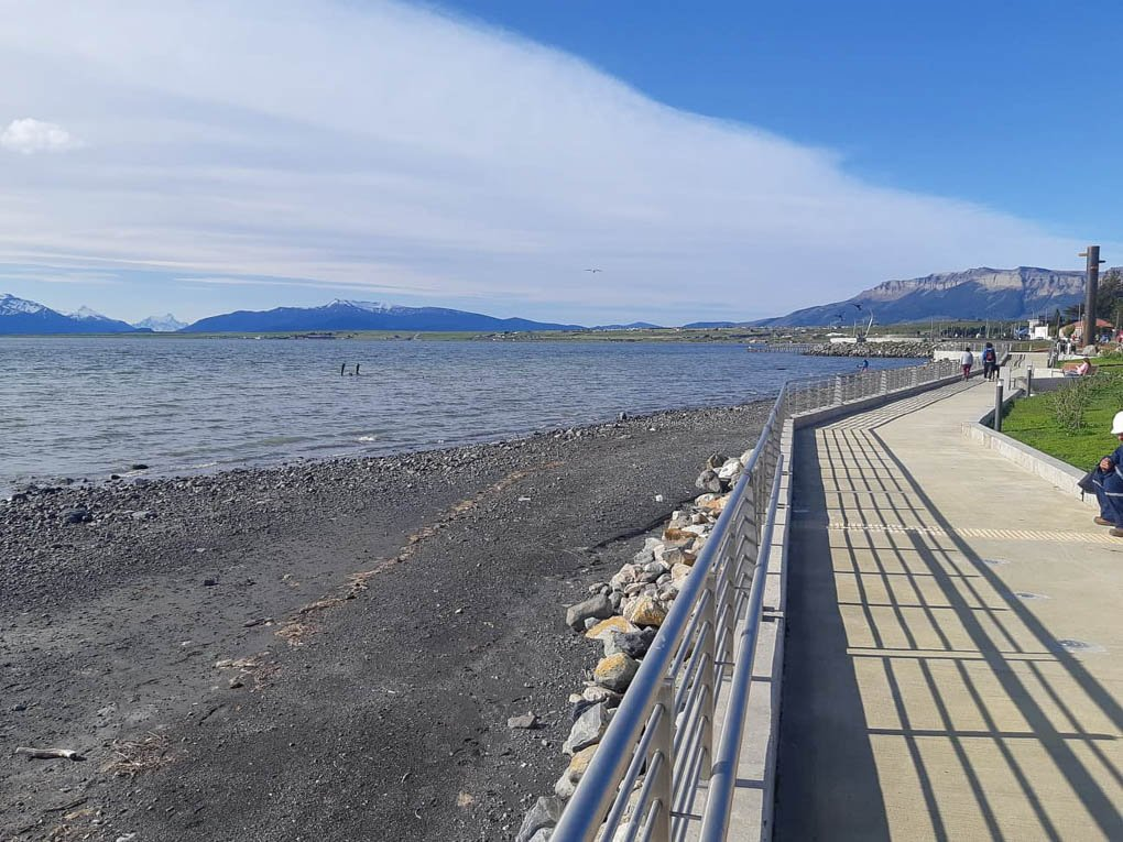 The waterfront boardwalk in Puerto Natales, Chile