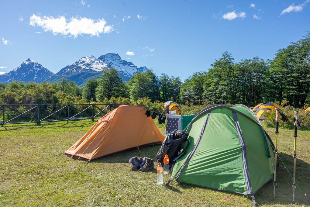 camping along the o circuit on the torres del paine trail