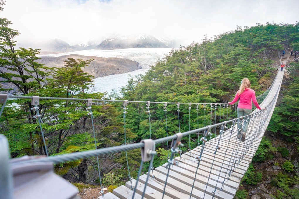 Walking the suspension bridges on the Torres del Paine trek just past Campamento Grey