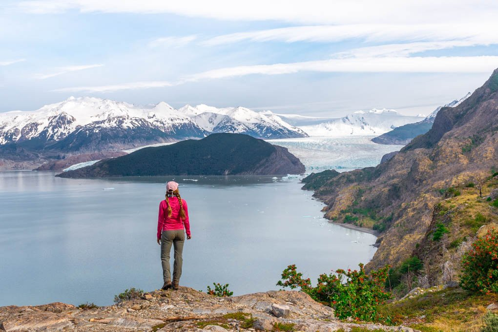 Bailey looking over the Grey Glacier on the torres del Paine W Trek from Puerto Natales, Chile