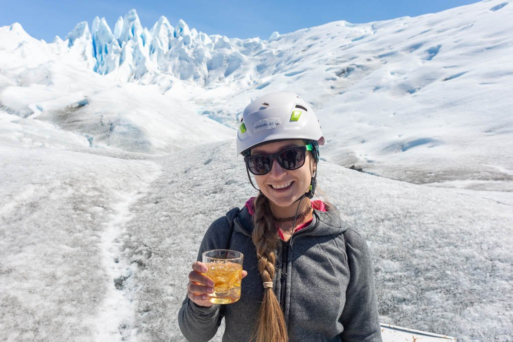 drinking whisky with glacier ice on the mini trekking perito moreno glacier tour