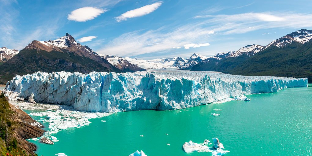 perito Moreno Glacier in Los Glaciares National Park, Argentina. Photo taken from the famous boardwalk and viewpoint in the national park