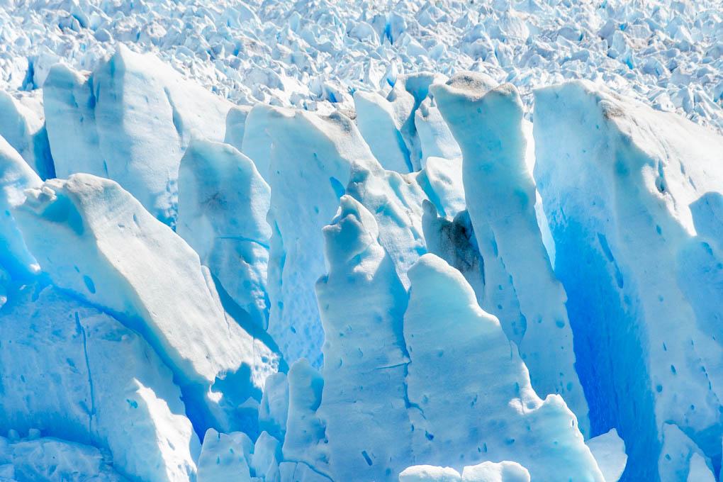 A close up shot of the ice of the Serrano Glacier