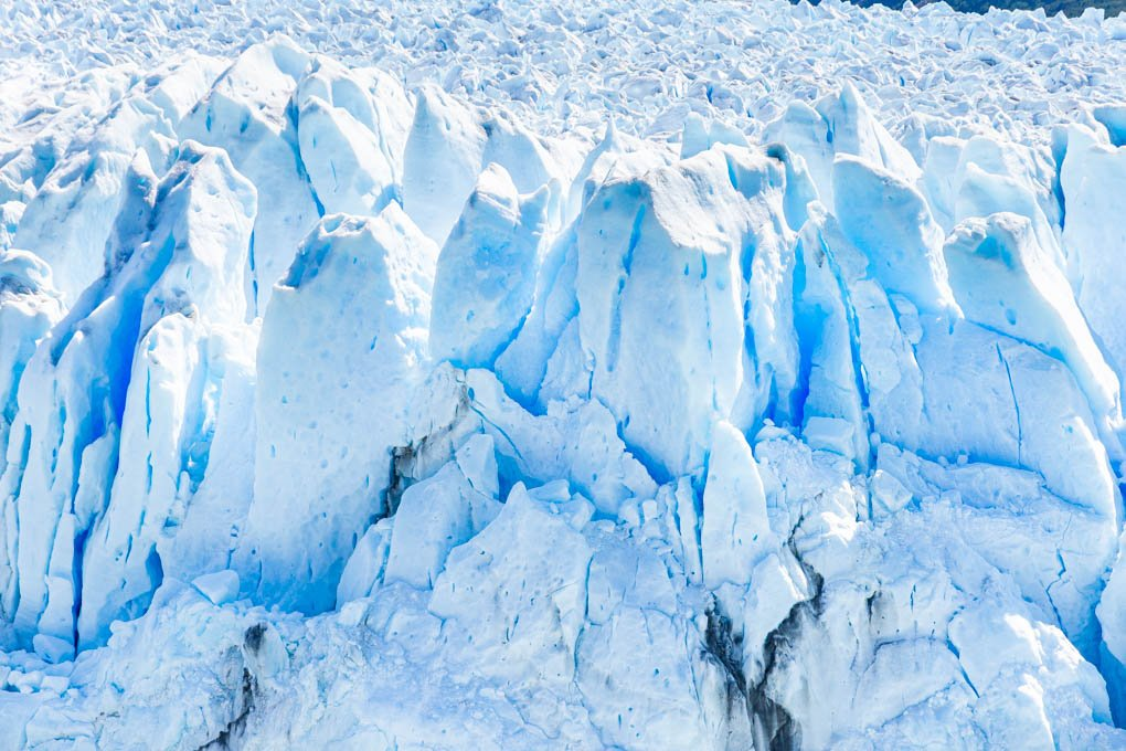 Up close shot of the Perito Moreno Glacier in Argentina