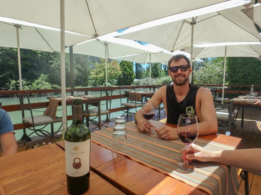 Drinking wine in Mendoza, Argentina