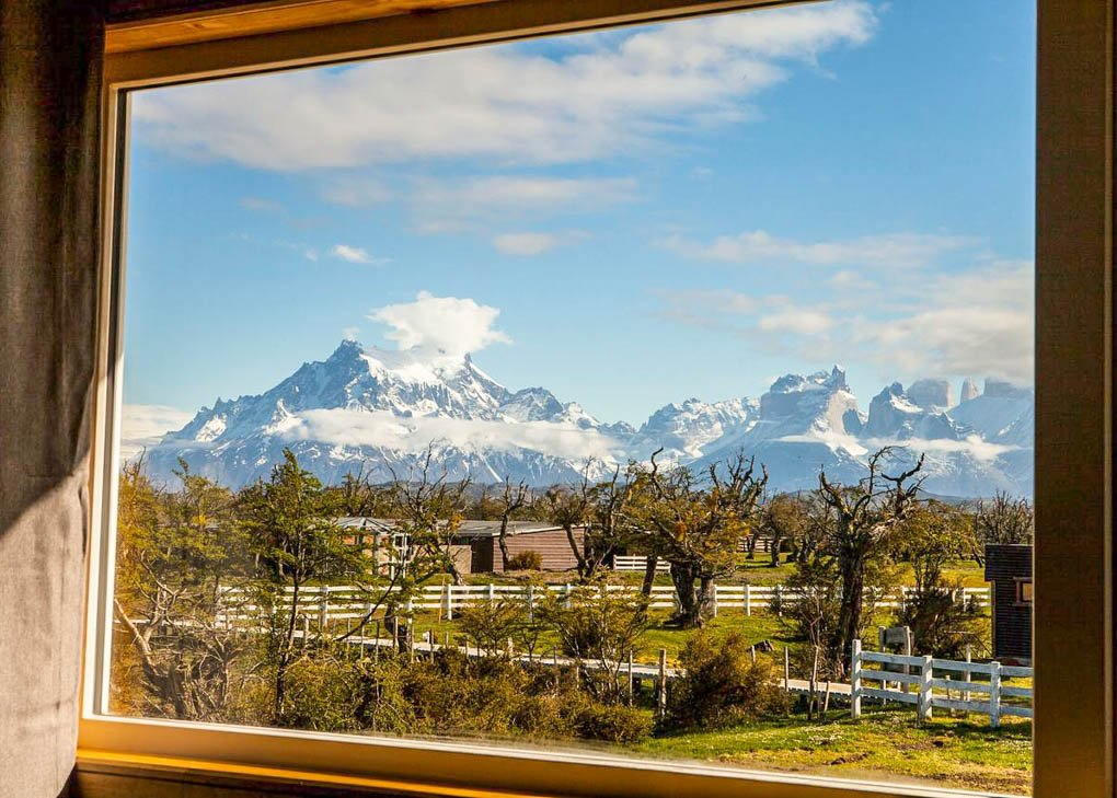 The view from Pampa Hostel in Torres del Paine National Park