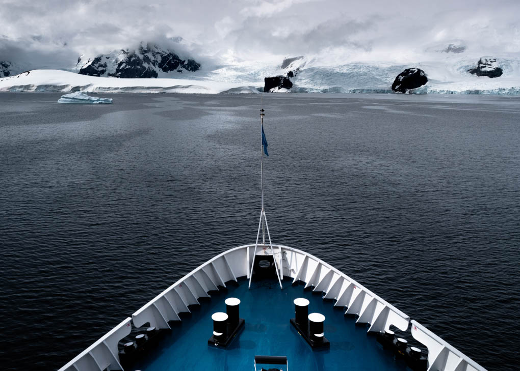 A cruise ship sailing in Antarctica