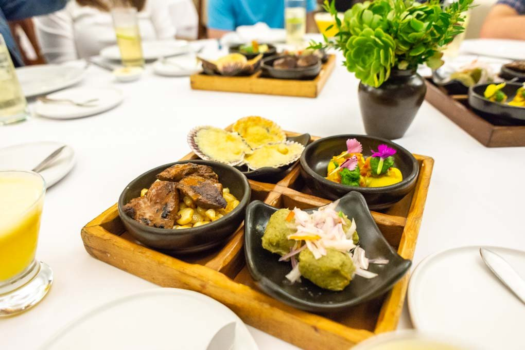 Four samples of Perivion Food on our Lima food tour