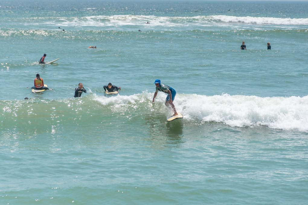 Surfing in Lima at the beach near Miraflores