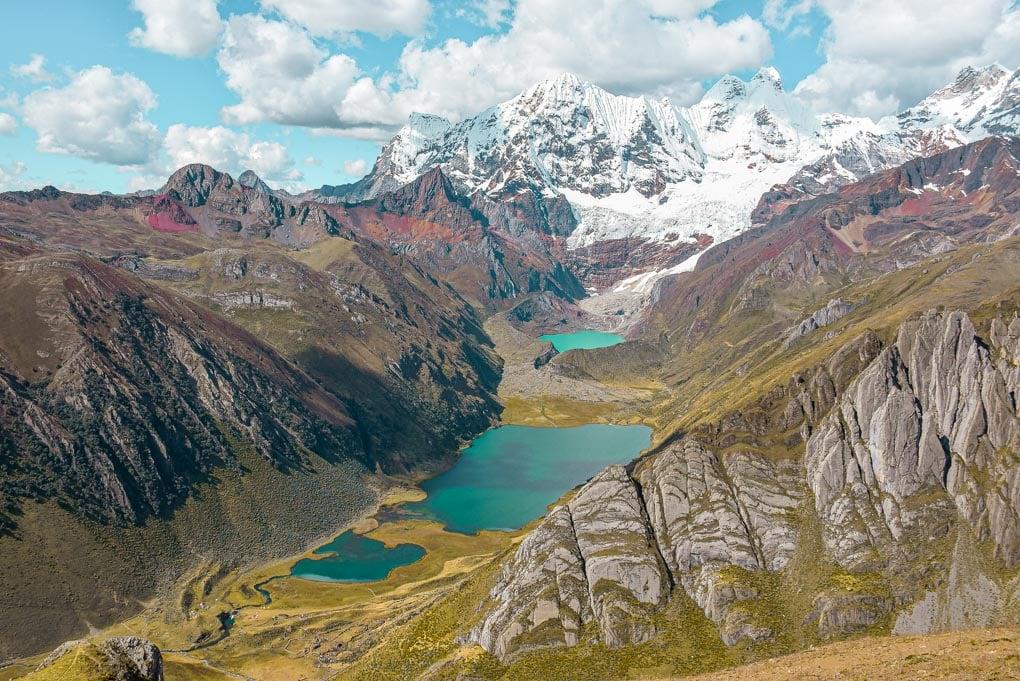 view of blue lakes in the cordillera blanca in peru