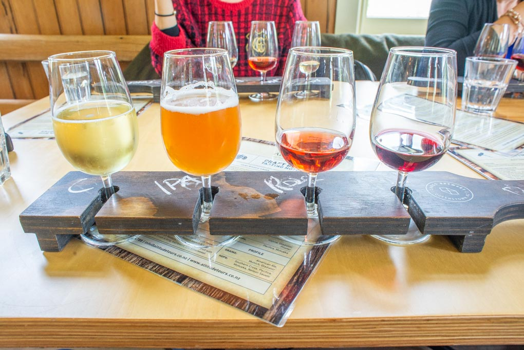 Our tasting paddle at the Cargo Brewery near Queenstown
