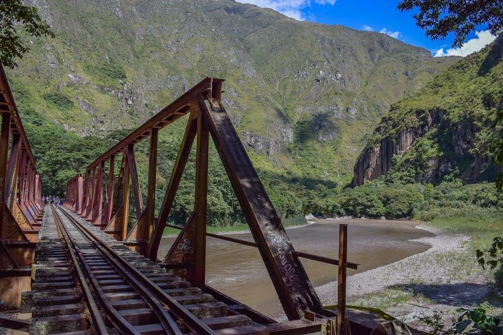 Hiking along the railway tracks on the Salkantey Trek