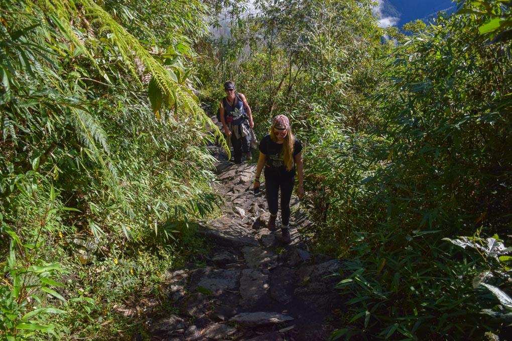 Walking up Machu Picchu Mountian