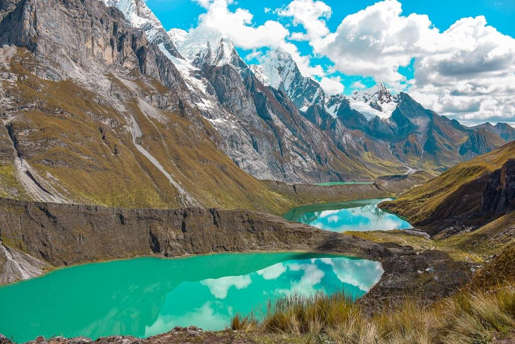 landscape shot of the Tres Lagunas on the huayhuash circuit in Peru