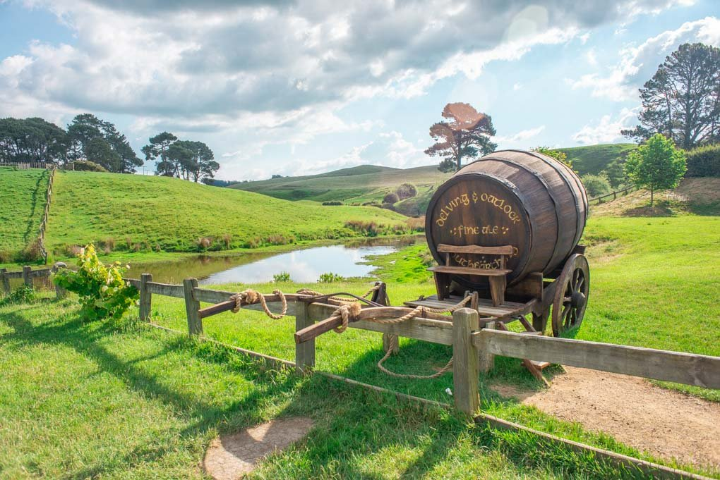 A landscape shot of the area around Hobbiton, New Zealand