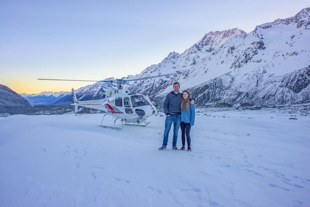 Landing on the Tasman Glacier on a Mount Cook helicopter flight!