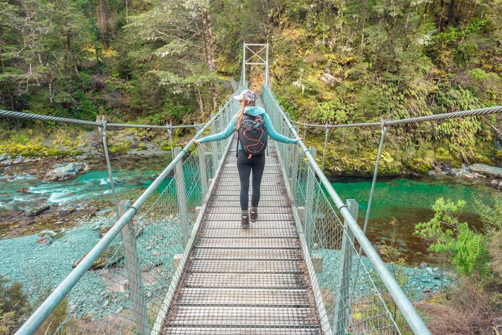 A suspension bridge at the start of the Routeburn Track