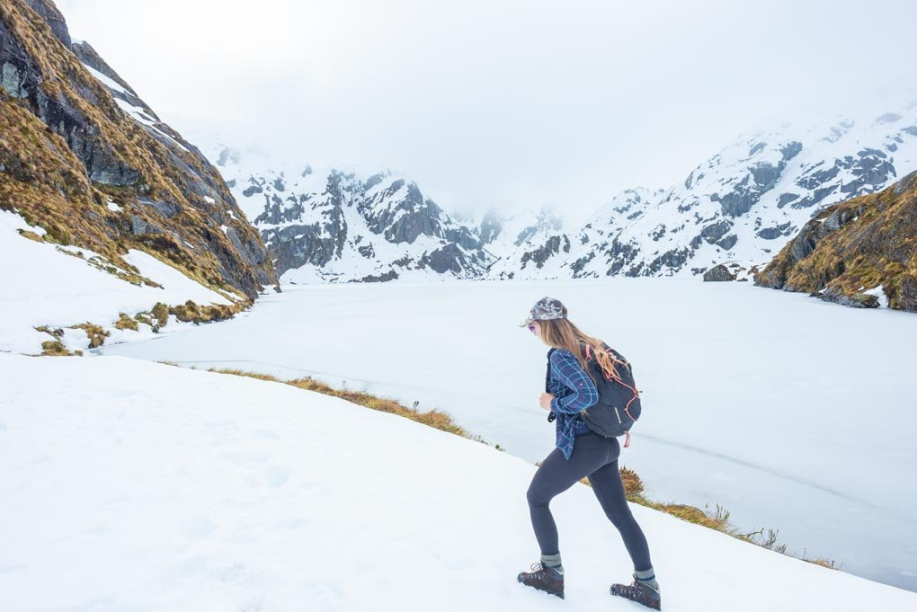 Hiking the Routeburn Track near Lake Harris in winter