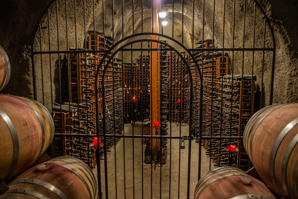 The wine cave at the Gibbston Valley Winery