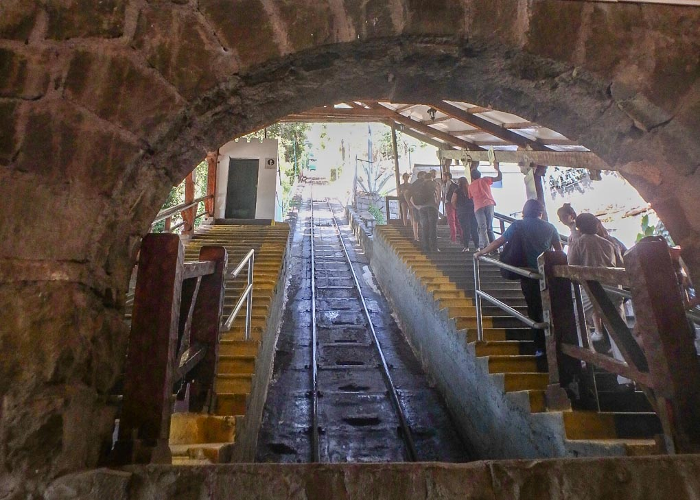 bottom of funicular in Santiago chile