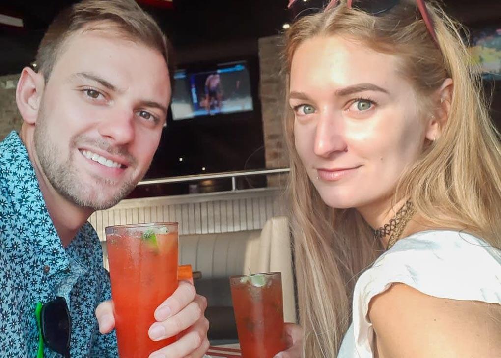 Daniel and Bailey enjoy a drink on Calle Berlin, Miraflores