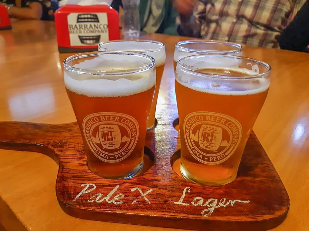 A tasting paddle at Barranco Beer Company