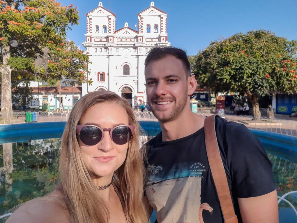 Bailey and Daniel in the main square of Guatapé