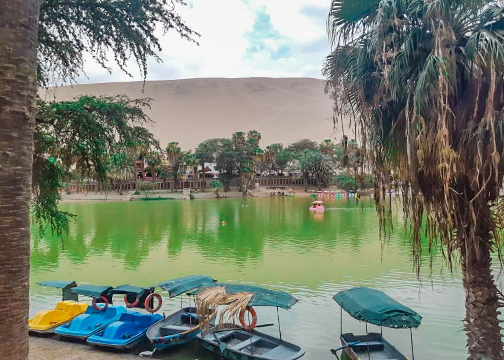 View of the lake in Huacachina, Peru