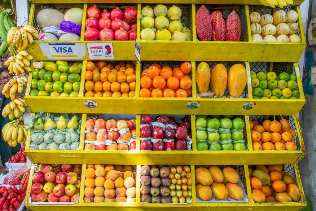 Large selection of fruits at Mercado Municipal 1, Miraflores