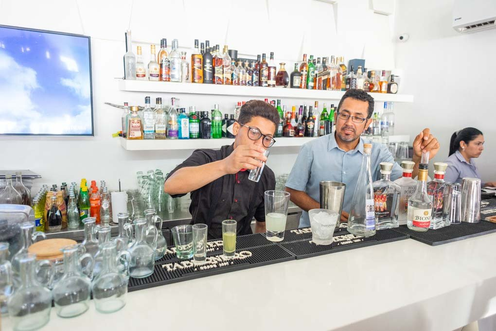 A bartender makes a pisco sour on our Pisco Sour Tours