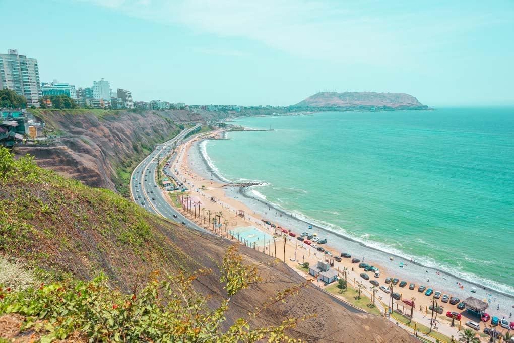 The coastline of Miraflores, Peru