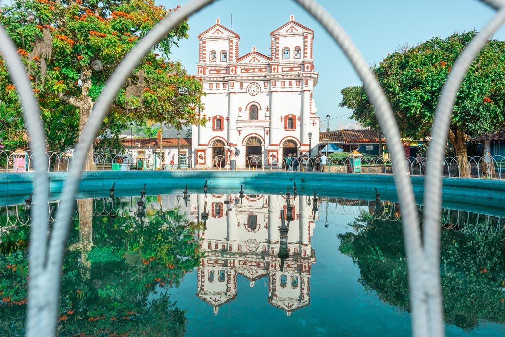 A reflection of the cathedral in Guatapé, Colombia