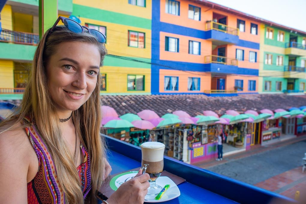 Drinking Colombian coffee in Guatape, Colombia
