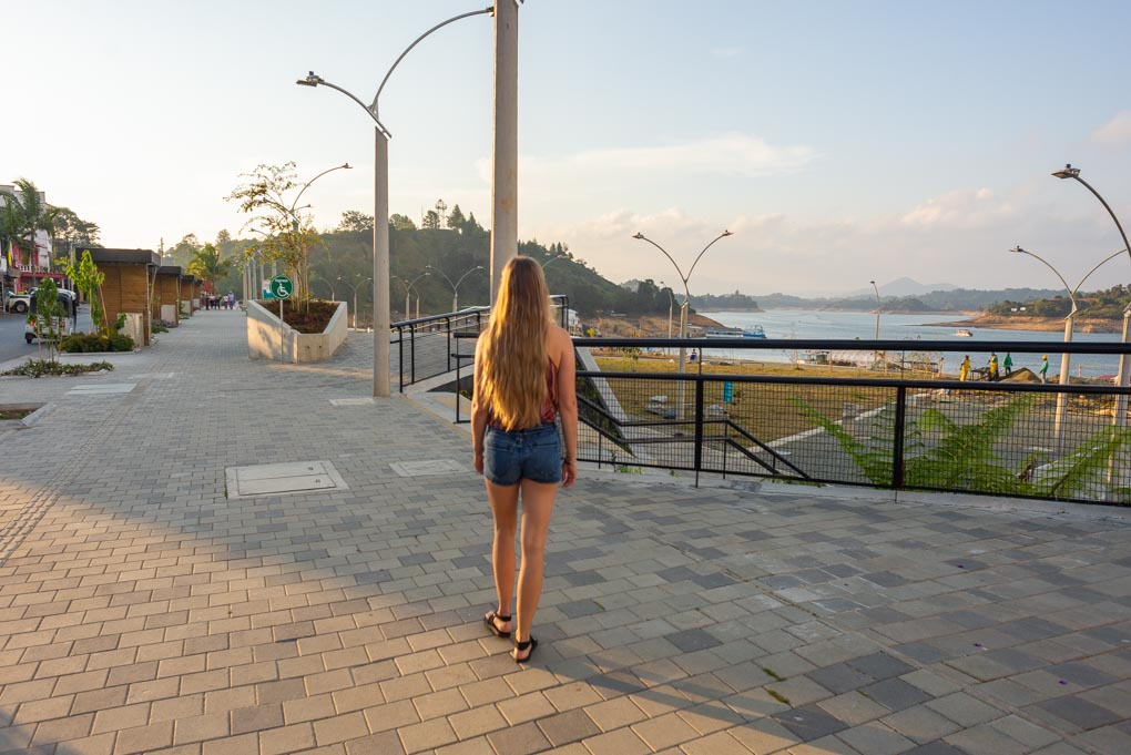 Walking the Malecon in Guatapé