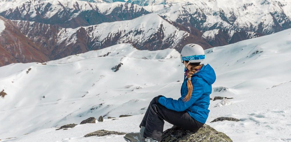 Bailey looks out at the mountains from the top of Cardrona Ski Resort