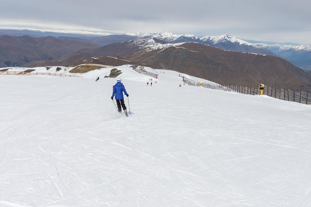 Bailey skis down Cardrona