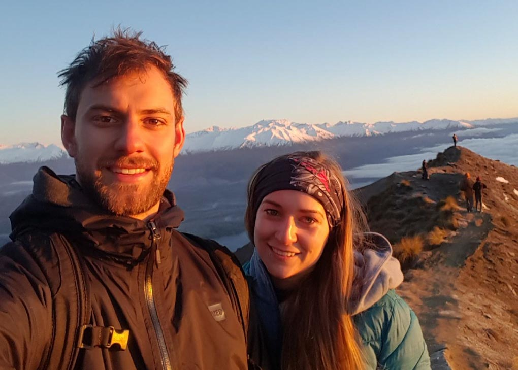 Selfie hiking in New Zealand