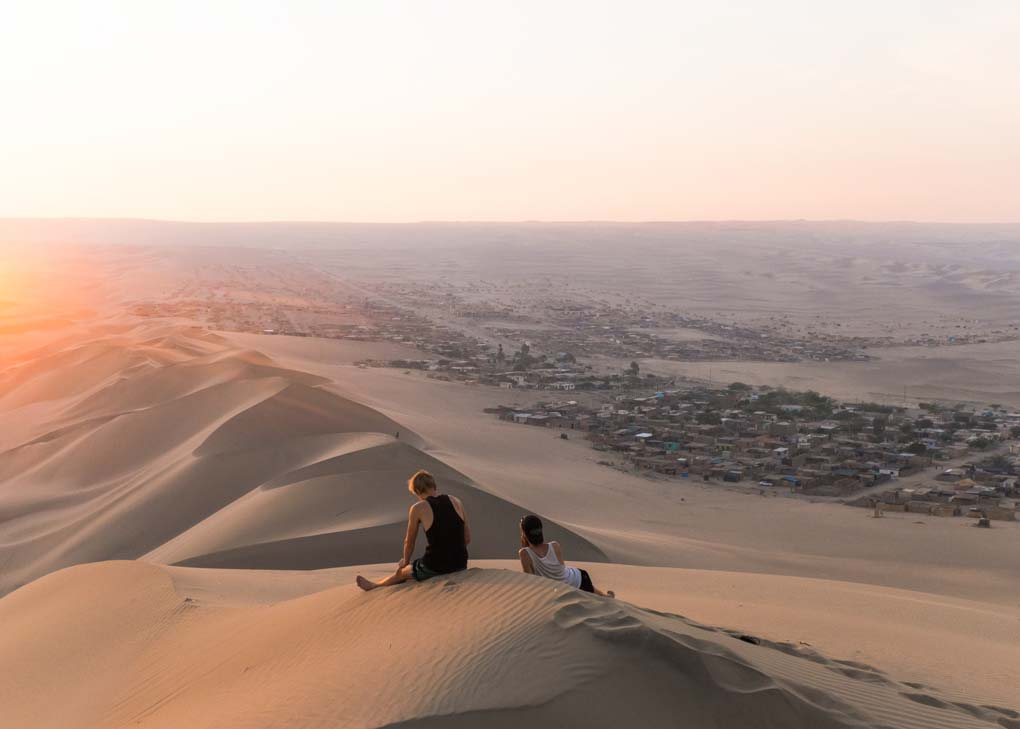 Sunset viewpoint in Huacachina, Peru