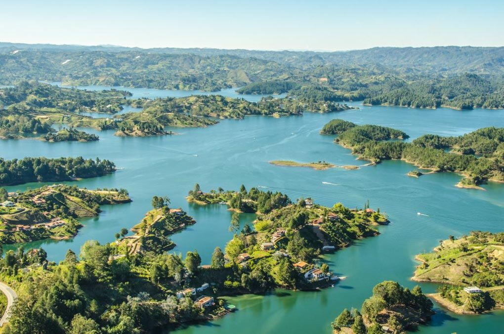 aerial view of Guatapé colombia