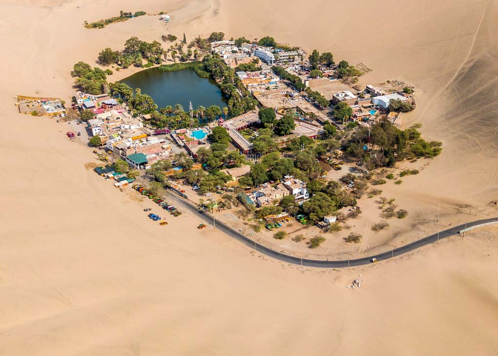 Birds eye view of Huacachina, Peru