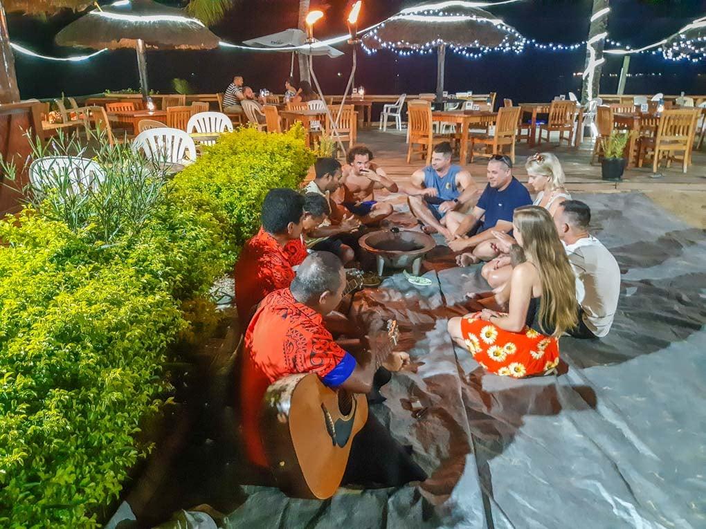drinking Kava at a hotel in Nadi, Fiji