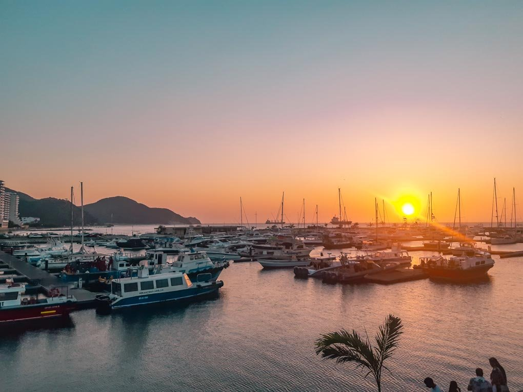 A sunset over the harbor in Santa Marta, Colombia