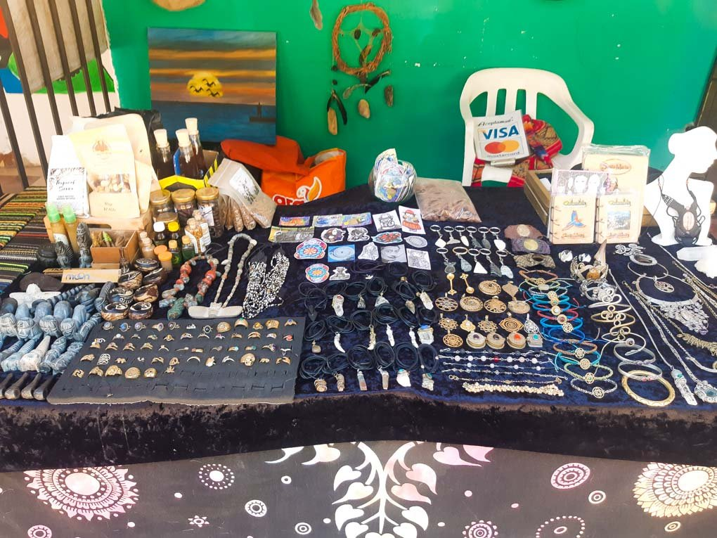 Hand made souvenirs at a stall in Minca, Colombia Hand made souvinirs