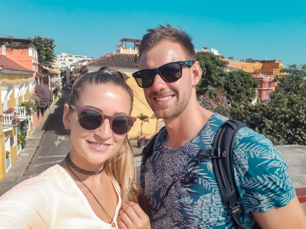 Bailey and Daniel take a selfie in Cartagena, Colombia
