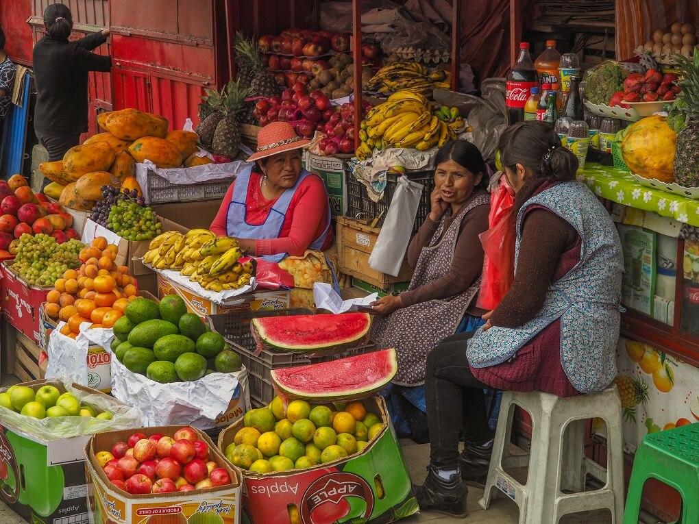 Bolivia street fruit market