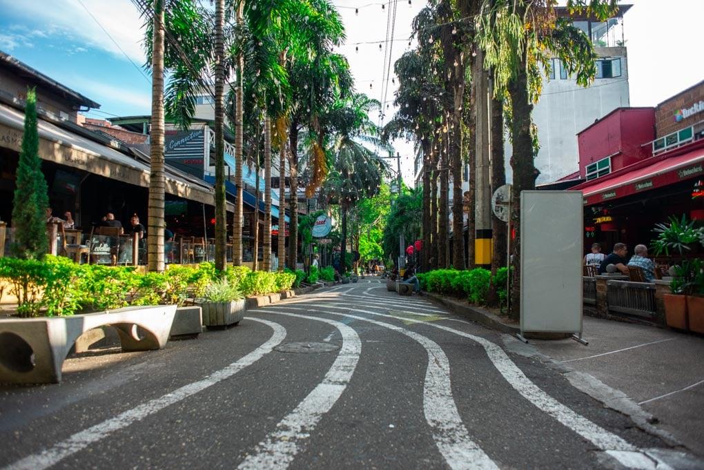 The streets of El Poblado Medellin